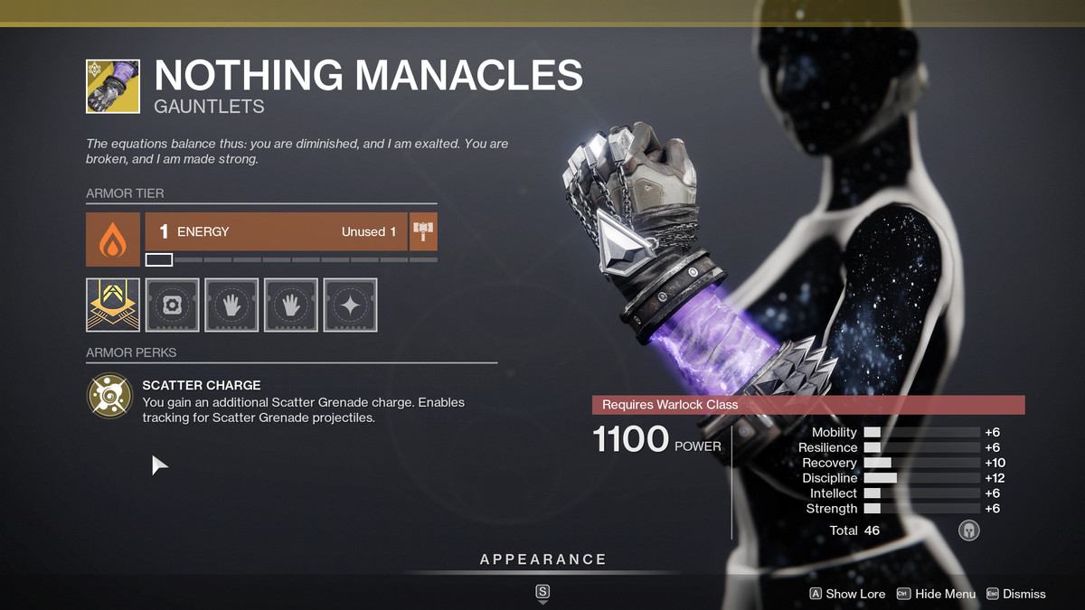 Nothing Manacles Warlock Exotic arms in Destiny 2