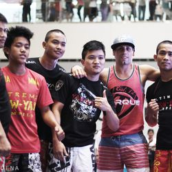 Urijah Faber with a group of young Filipino wrestlers
