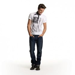Printed Flag Tee in White, $19.99 Straight Jeans in Medium Wash with Oil Stains, $49.99