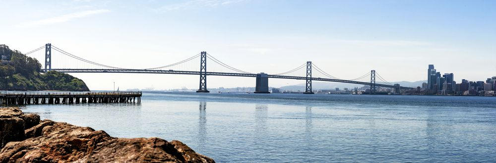 The western span of the Bay Bridge, as seen from Treasure Island.