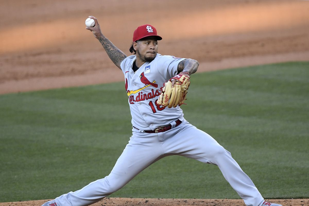 Carlos Martinez #18 of the St. Louis Cardinals pitches during the first inning against the Los Angeles Dodgers at Dodger Stadium on June 02, 2021 in Los Angeles, California.