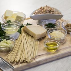 All the ingredients you'll need for the Lichtenstein Family linguine recipe. | Ashlee Rezin/Sun-Times
