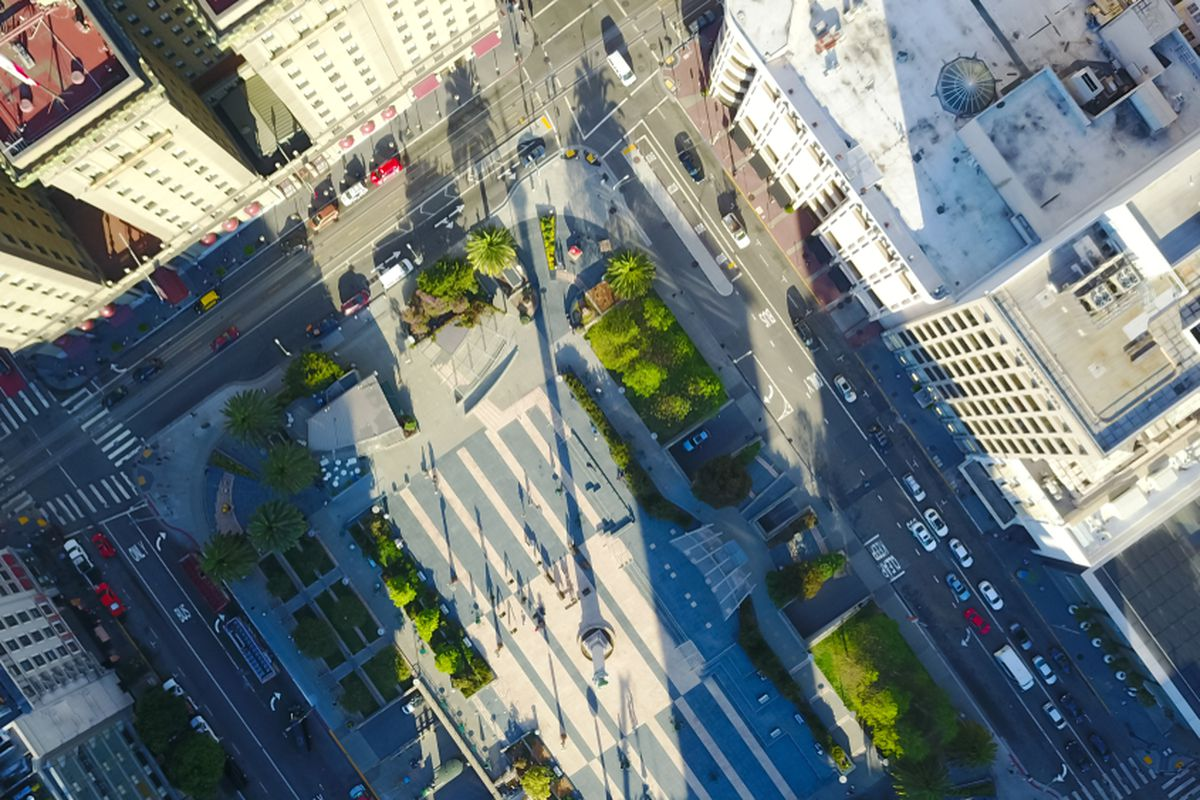 An aerial view from immediately above Union Square.