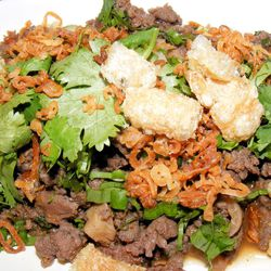"""Northern Thai spicy hand-minced pork """"salad"""" from Pok Pok by <a href=""""http://www.flickr.com/photos/37619222@N04/7811342174/in/pool-29939462@N00/"""">The Food Doc</a>"""