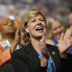 Rep. Tammy Baldwin, D-Wis., cheers during the Democratic National Convention in Charlotte, N.C., on Wednesday, Sept. 5, 2012.