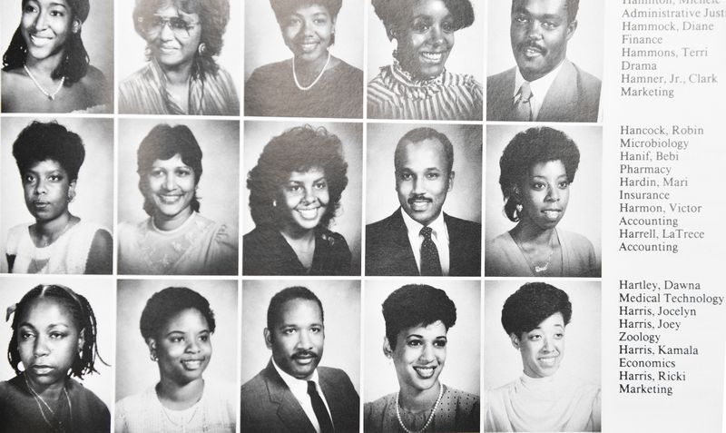 A Howard University yearbook page that includes a picture of Kamala Harris.