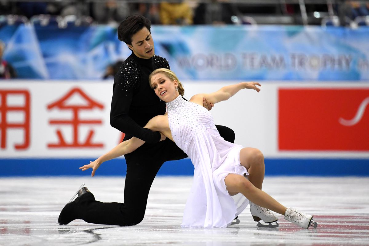 KaitlynWeaver and AndrewPoje of Canada compete at an event in Tokyo in 2019.