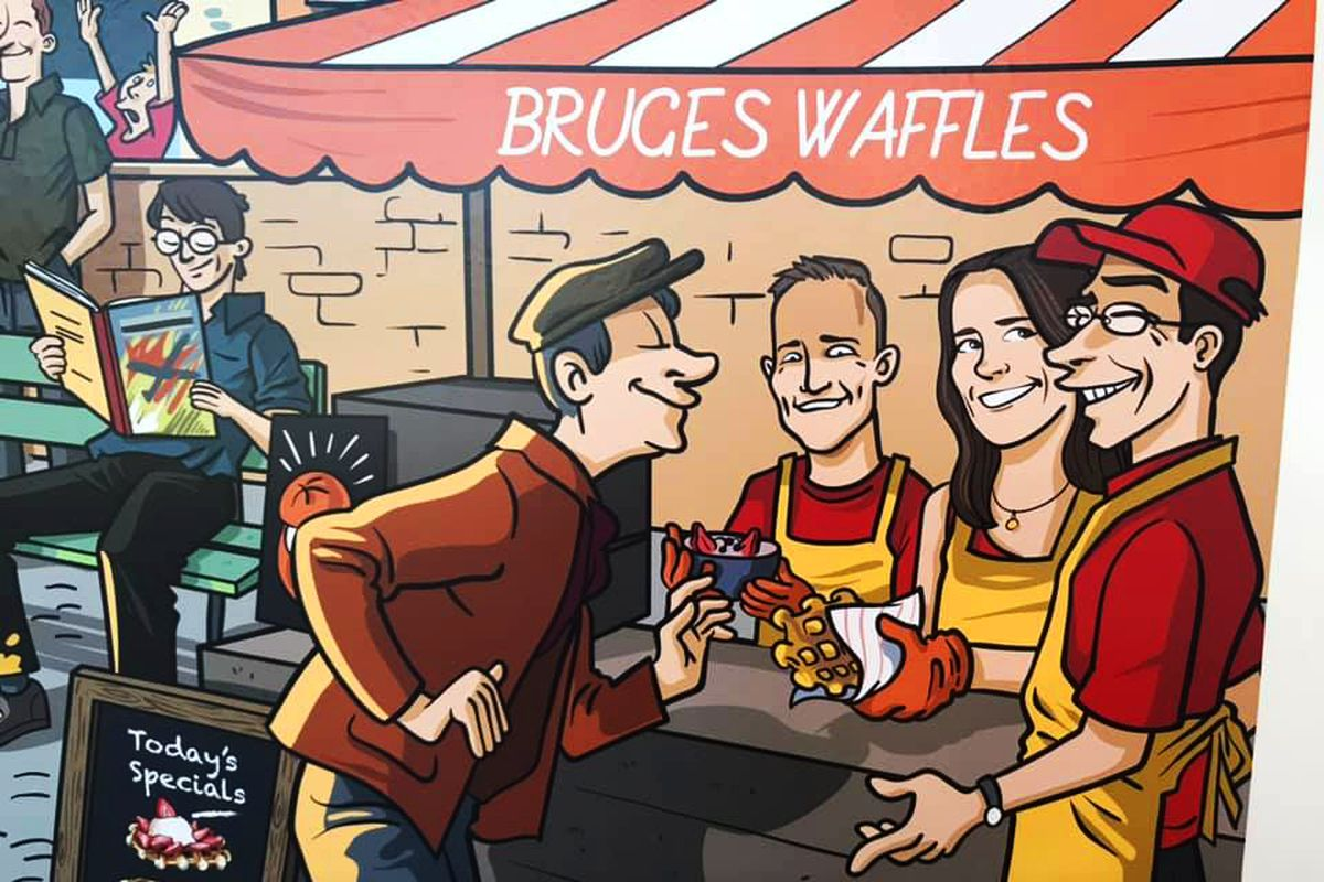 Mural inside Bruges Waffles and Frites restaurant showing a customer buying waffles from a street cart.