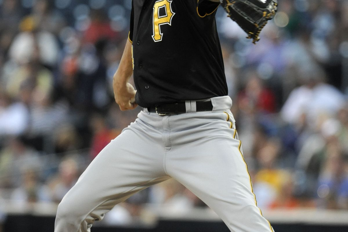 SAN DIEGO, CA - AUGUST 21:  A.J. Burnett #34 of the Pittsburgh Pirates pitches during the first inning of a baseball game against the San Diego Padres at Petco Park on August 21, 2012 in San Diego, California.  (Photo by Denis Poroy/Getty Images)