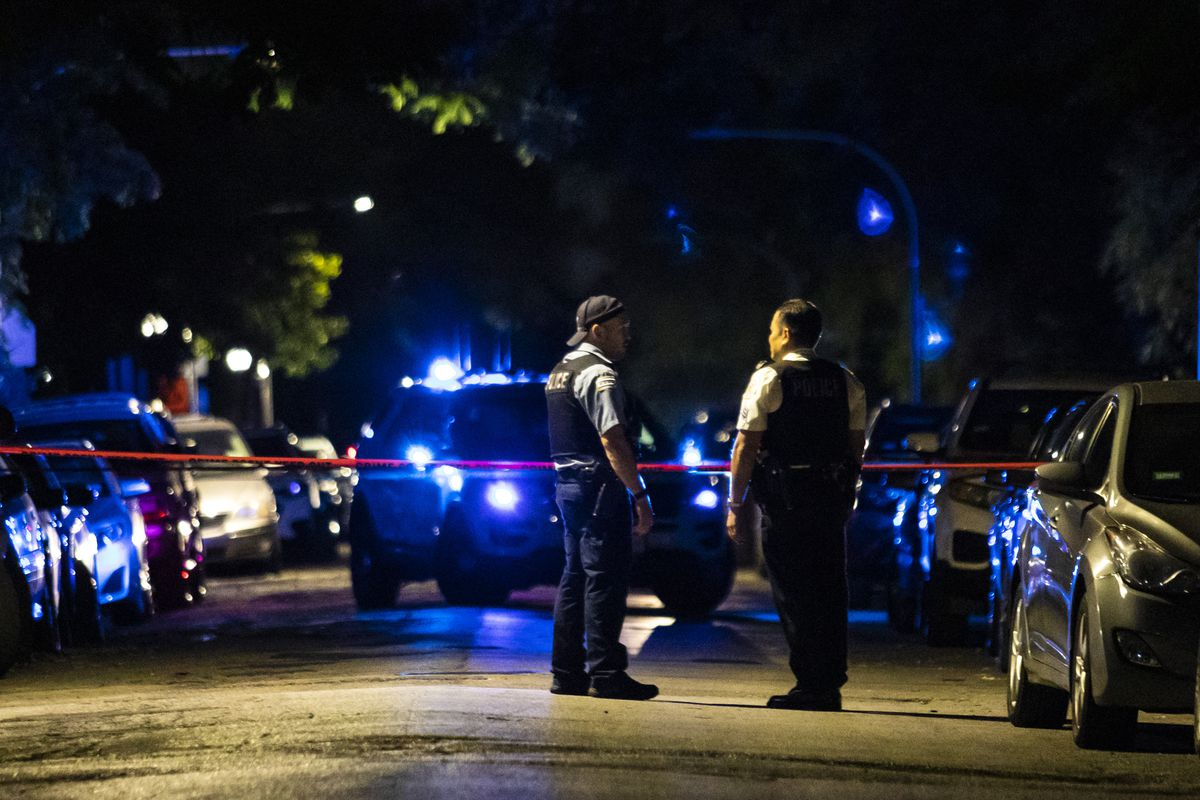 Five people were wounded in a mass shooting early Saturday in the 1400 block of South Tripp Avenue in Lawndale on the Southwest Side.