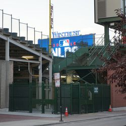 View of the left field video board, from Sheffield Avenue