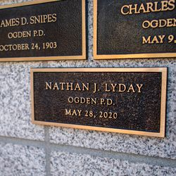 Fallen Ogden officer Nathan J. Lyday's plaque on the Utah Law Enforcement Memorial at the Capitol in Salt Lake City is pictured on Thursday, May 6, 2021, during the annual Utah Police Memorial Service.
