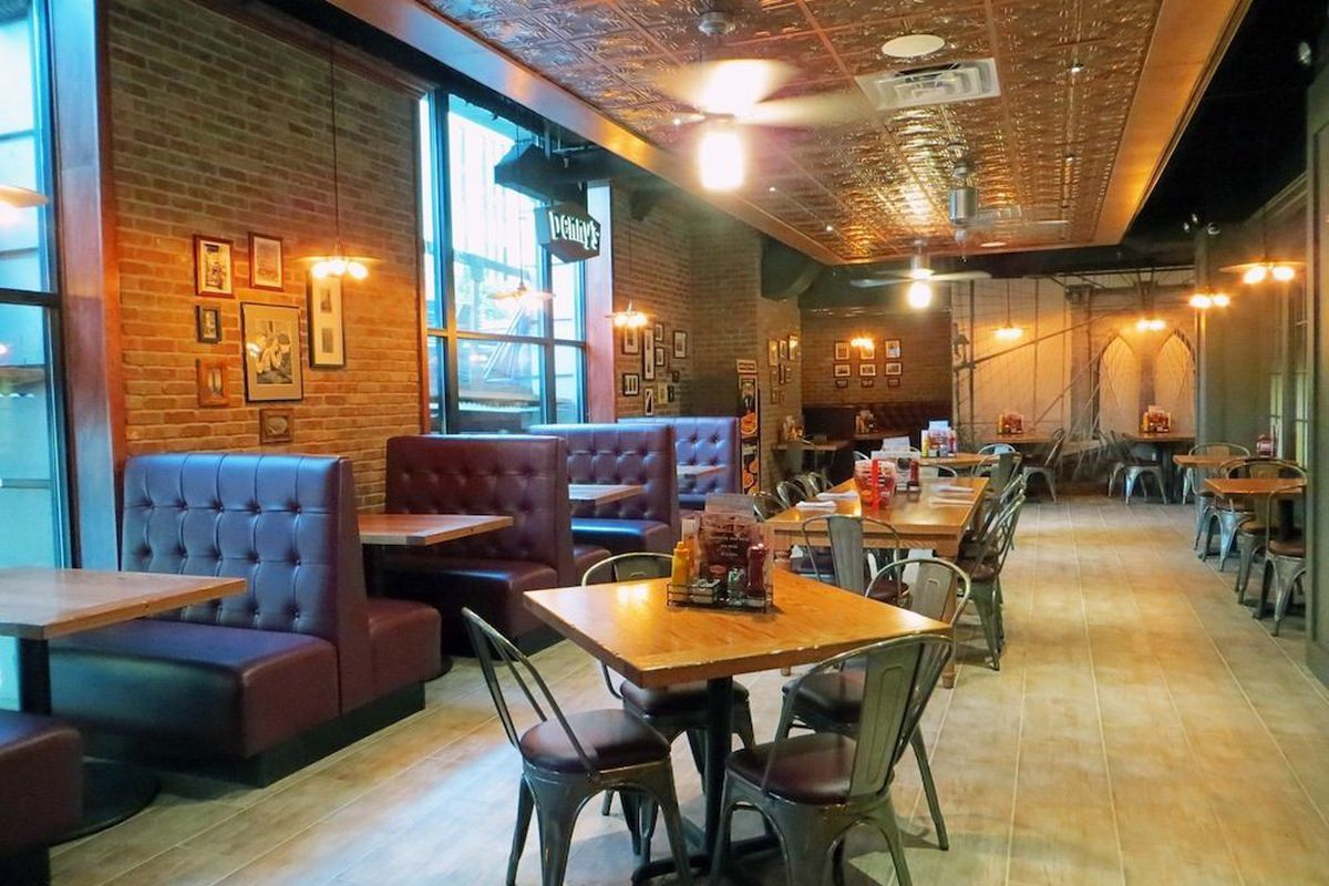 Owner Rahul Marwah Says He Wanted This Denny S To Feel Like A Regular New York Restaurant Hence Exposed Brick Tin Ceiling And Leather Booths