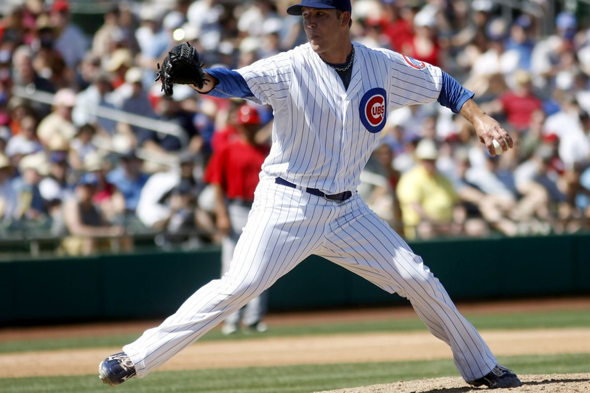 Mesa, AZ, USA; Chicago Cubs starting pitcher Paul Maholm throws against the Los Angeles Angels in the third inning at HoHoKam Stadium.  Credit: Rick Scuteri-US PRESSWIRE
