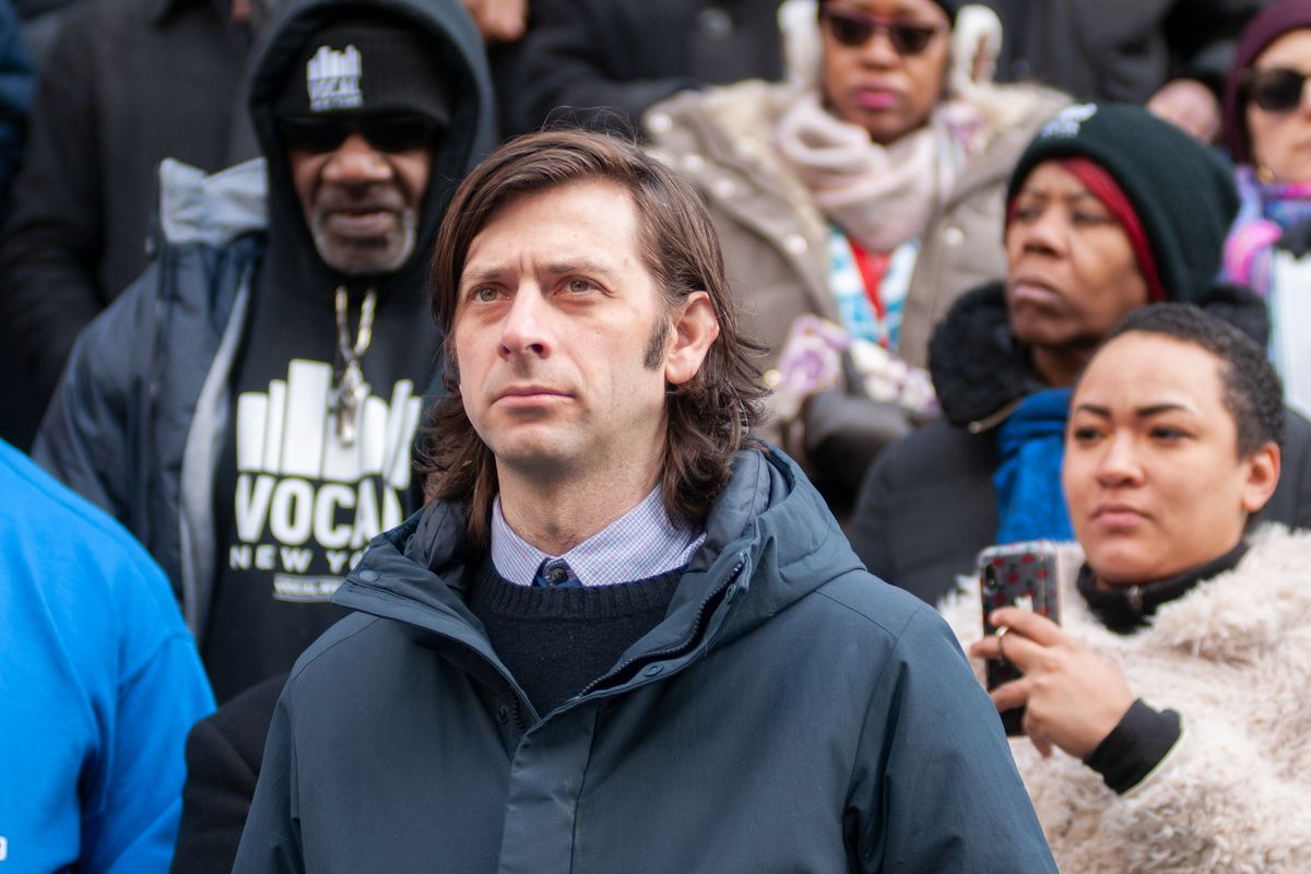 Councilmember Stephen Levin (D-Brooklyn) attends a press conference on the steps of City Hall about combating homelessness, Jan. 30, 2020.