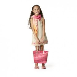 Embroidered Dress in Khaki $16.99, Fan-Print Flip-Flops in Pink $7.99, Crinkle Scarf in Pink/Orange $9.99, Sequin Straw Tote in Pink $12.99