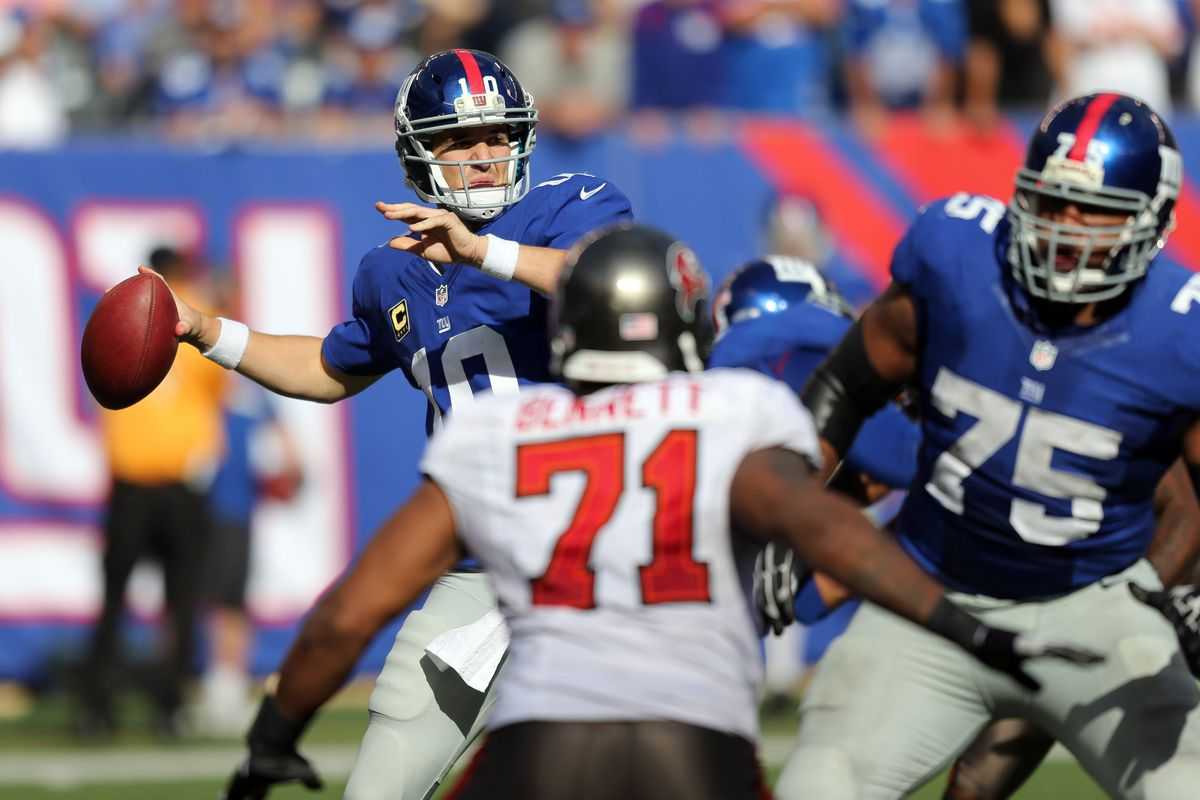 Sep 16, 2012; East Rutherford, NJ, New York Giants quarterback Eli Manning (10) passes during the fourth quarter against the Tampa Bay Buccaneers at MetLife Stadium. Giants won 41-34. Anthony Gruppuso-US PRESSWIRE