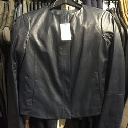 Perforated black leather jacket, $279 (was $1,075)