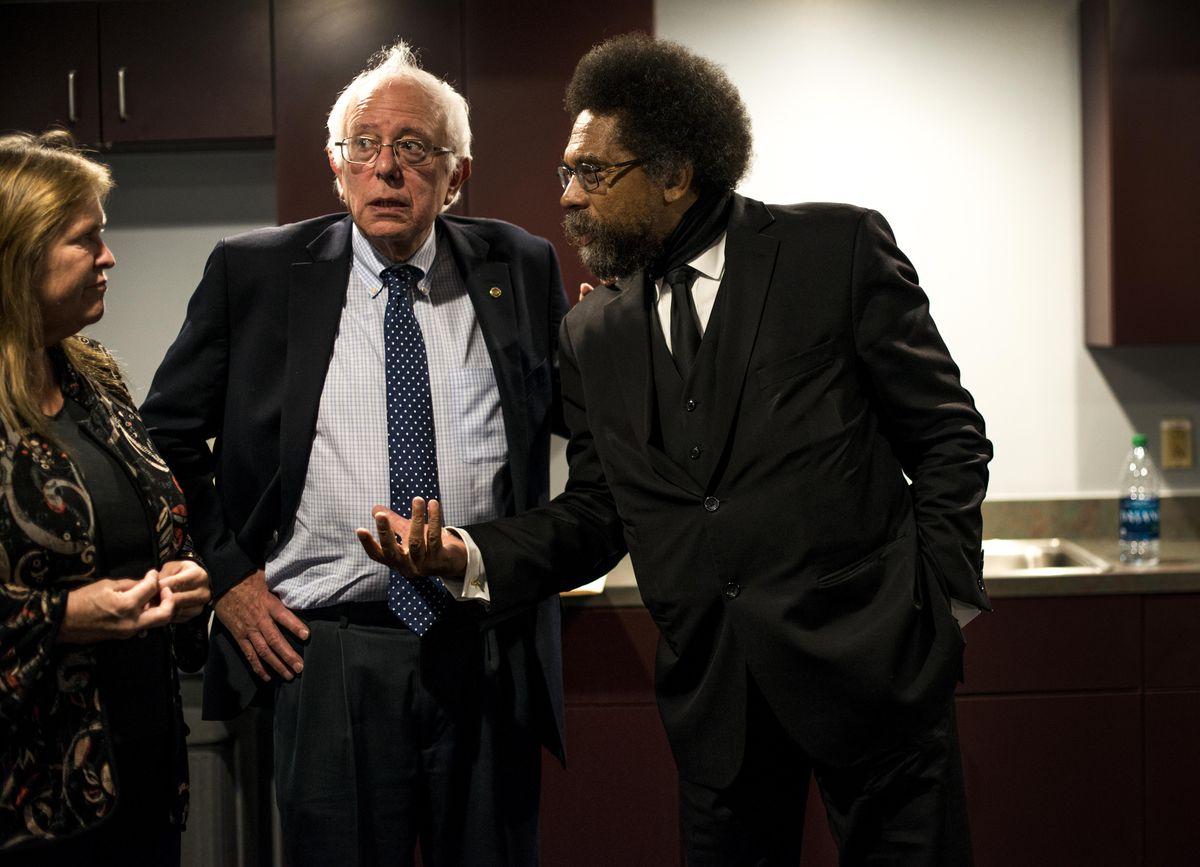 Bernie Sanders with Cornel West.