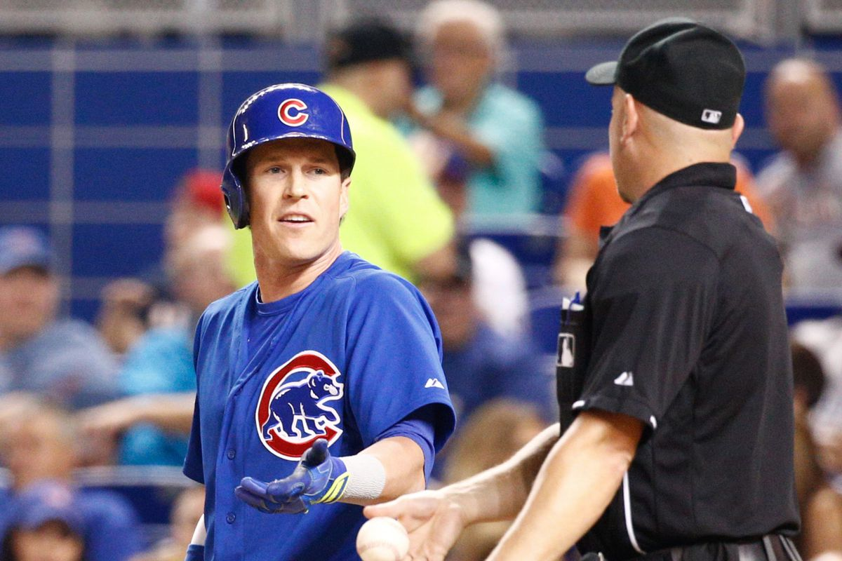 What is Chris Coghlan saying to plate umpire Scott Barry?