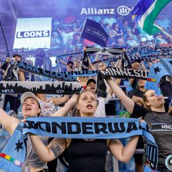 July 3, 2019 - Saint Paul, Minnesota, United States - Supporters sing Wonderwall in celebration as Minnesota United defeated San Jose Earthquakes 3-1 at Allianz Field.