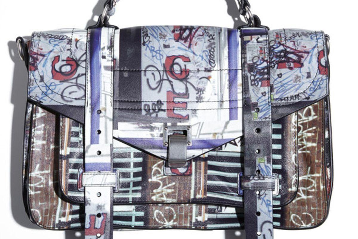 "PS1 Medium Leather Gotham Bike Print Satchel, $2,375, via <a href=""http://www.purseblog.com/proenza-schouler/spring-2013-psi.html"">Purse Blog</a>"