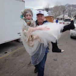 """11-year-old Lexi Walker and her dad on the set of her latest """"Let It Go"""" video."""