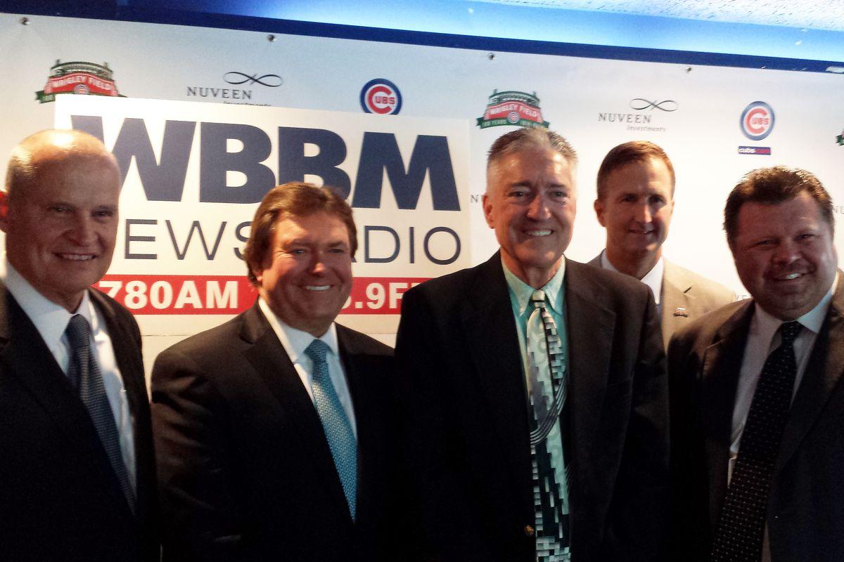 Left to right: Rod Zimmerman of CBS Radio, Dan Mason of CBS Radio, Pat Hughes, Crane Kenney, Ron Coomer
