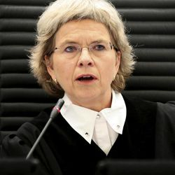 Judge Wenche Arntzen listens to the proceedings against Anders Behring Breivik in  the courtroom in Oslo, Norway, Tuesday April 17, 2012. The anti-Muslim fanatic who admitted to killing 77 people in a bomb-and-shooting massacre is set to take the stand in his terror trial. Anders Behring Breivik will have five days to explain why he set off a bomb in Oslo's government district, killing eight, and then gunned down 69 at a Labor Party youth camp outside the Norwegian capital.