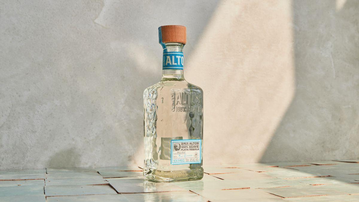 A bottle of Olmeca Altos tequila