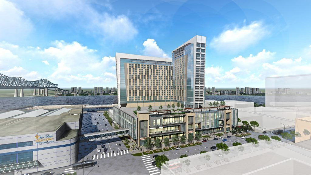 A rendering shows a sprawling high-rise hotel adjacent to the New Orleans Convention Center in front of the Mississippi River.