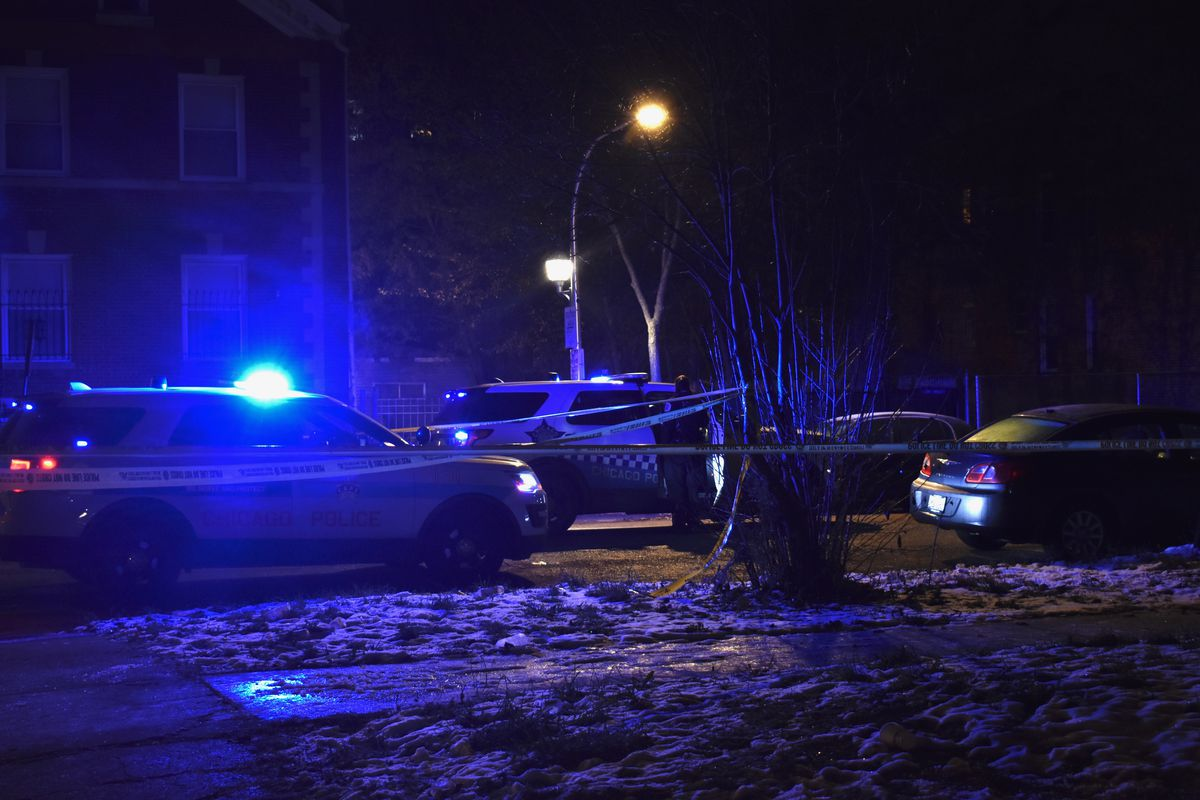 Chicago police on the scene where three people were shot in Fifth City Nov. 16, 2019.