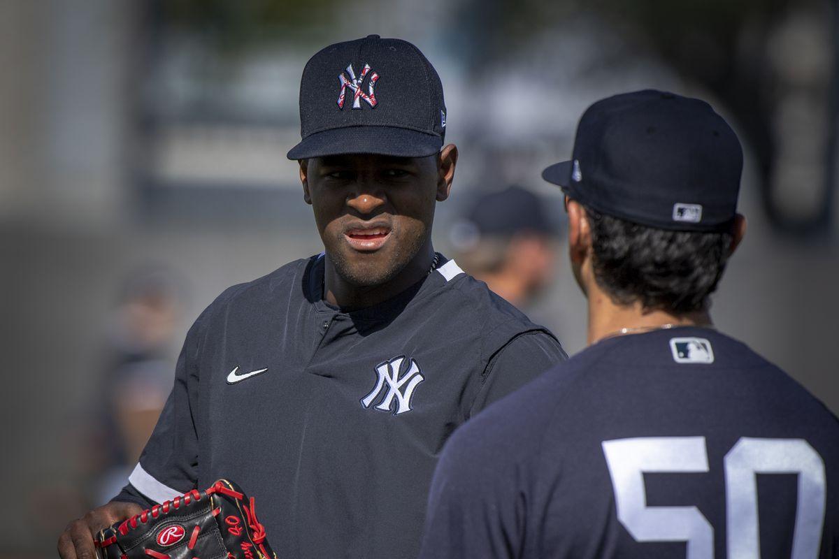 New York Yankees Pitcher Luis Severino Talk to Reggie Willits During Spring Training