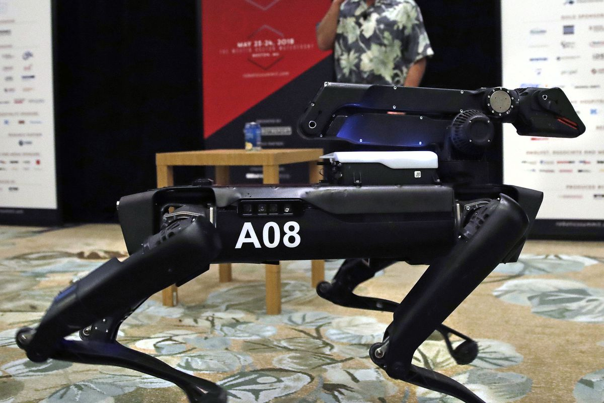 In this Thursday, May 24, 2018, photo a Boston Dynamics SpotMini robot is walks through a conference room during a robotics summit in Boston. It's never been clear whether robotics company Boston Dynamics is making killing machines, household helpers, or something else entirely. But the secretive firm, which for nine years has unnerved viewers with YouTube videos of robots that jump, gallop or prowl like animal predators, is starting to emerge from a quarter-century of stealth.
