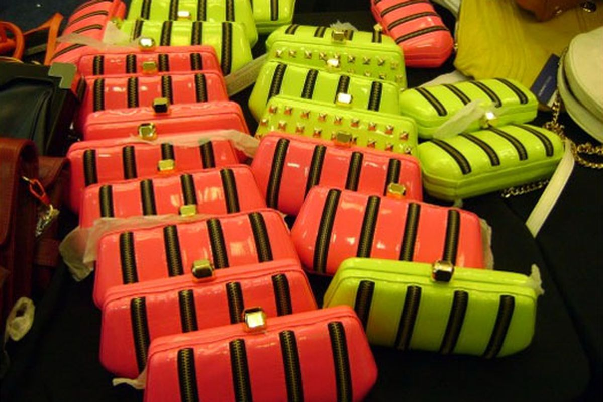 """Neon bags at the last Rebecca Minkoff <a href=""""http://ny.racked.com/archives/2010/05/12/more_rebecca_minkoff_than_ever_before_at_her_5th_ave_sale.php#minkoff-sale-may-8"""">sale</a>"""