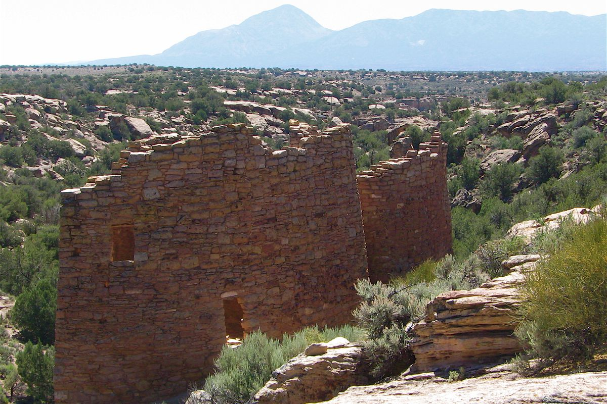 Twin Towers sit along the rim of Little Ruin Canyon in Hovenweep National Monument.