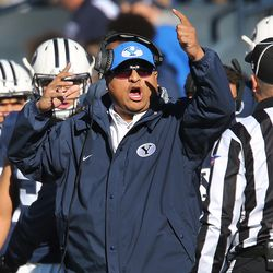 """BYU head coach Kalani Sitake protests a call in Provo on Saturday, Nov. 18, 2017. One thing Sitake is not protesting is how """"referrals"""" — members of the LDS Church who alert the BYU coaching staff of potential recruits — help in the recruiting process."""
