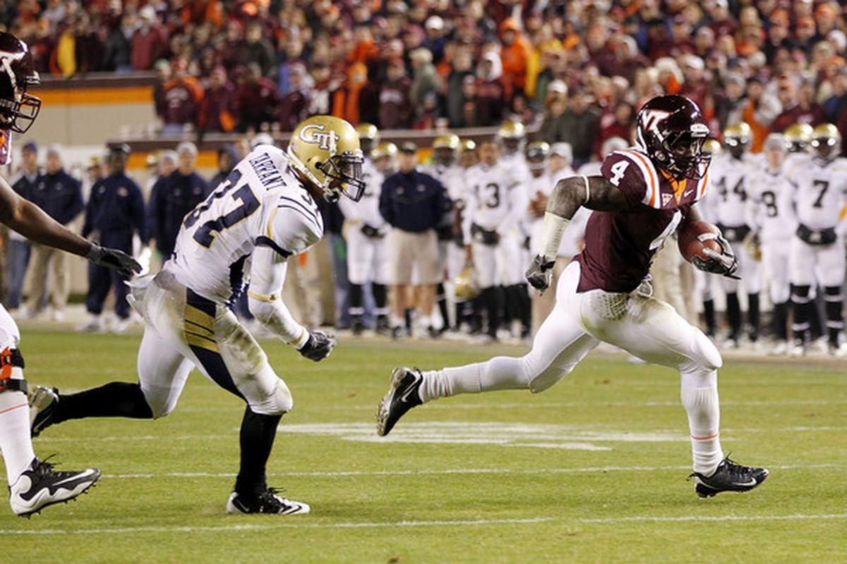 Virginia Tech running back/return man David Wilson's deal is speed.