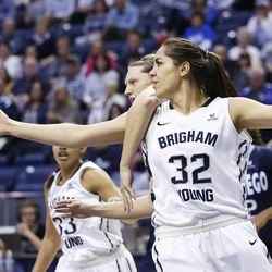 Brigham Young Cougars forward Kalani Purcell (32) battles with San Diego Toreros guard Cori Woodward (32) in Provo Thursday, Feb. 18, 2016.