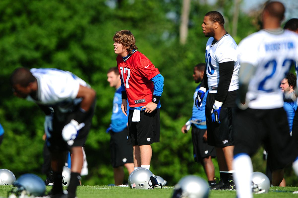 June 12, 2012; Detroit, MI, USA; Detroit Lions quarterback Kellen Moore (17) during mini camp at Detroit Lions training facility. Mandatory Credit: Andrew Weber-US PRESSWIRE