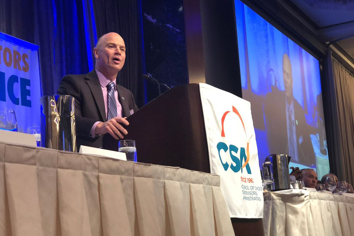 Council of School Supervisors & Administrators President Mark Cannizzaro delivers his state of the union address in 2019.