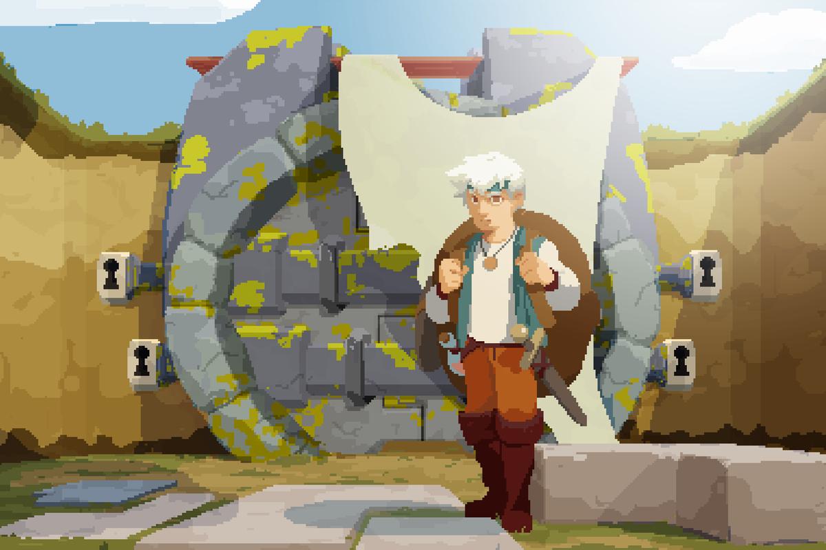 Moonlighter - guy standing in front of door with four locks