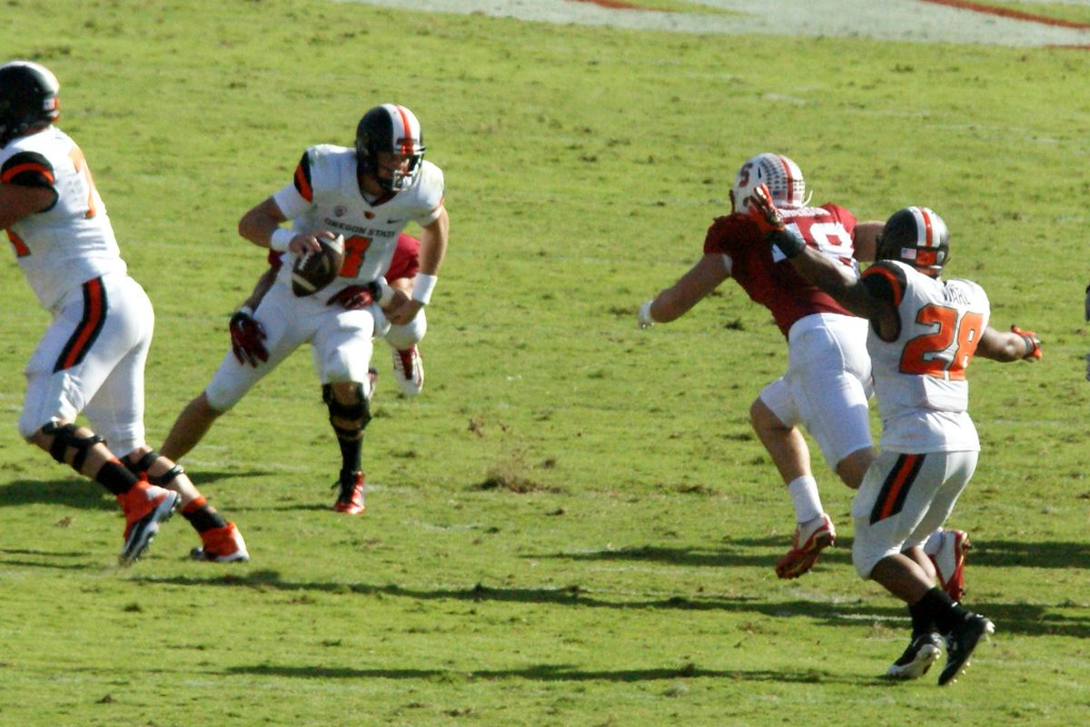 Sean Mannion was under undue pressure most of the afternoon, and it translated into a blowout win for Stanford.