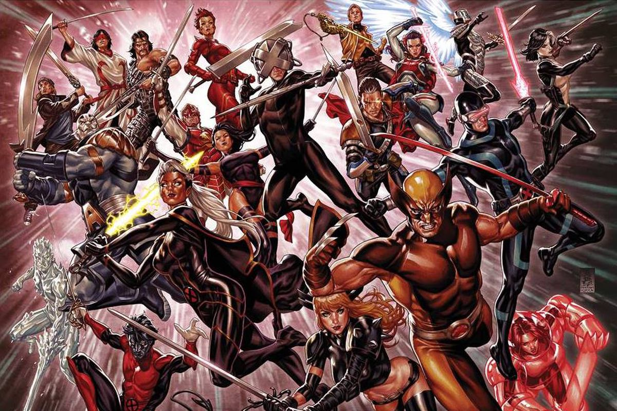 Many many X-Men characters leap through the air brandishing swords in promo art for X of Swords, Marvel's 2020 X-Men crossover.