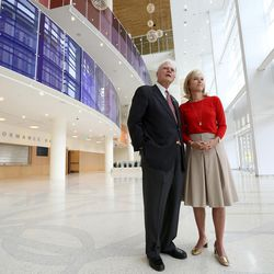 Spencer Eccles and his daughter Lisa Eccles stand in the new Eccles Theater in Salt Lake City on Tuesday, Oct. 11, 2016.
