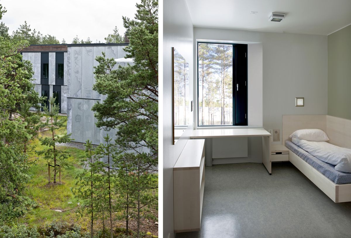 An exterior view with trees surrounding a building at Halden Prison. A view of a cell with normal furniture and natural light at Halden Prison.