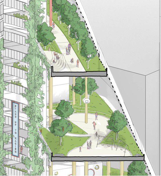 A detail from a proposal by Solomon Cordwell Buenz staffers to put a public school with indoor parks in the Thompson Center.