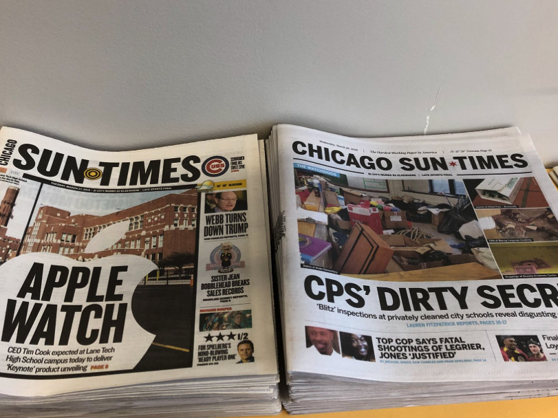 Our old look and our new look, side-by-side in the Sun-Times newsroom. | Madeline Kenney/Sun-Times