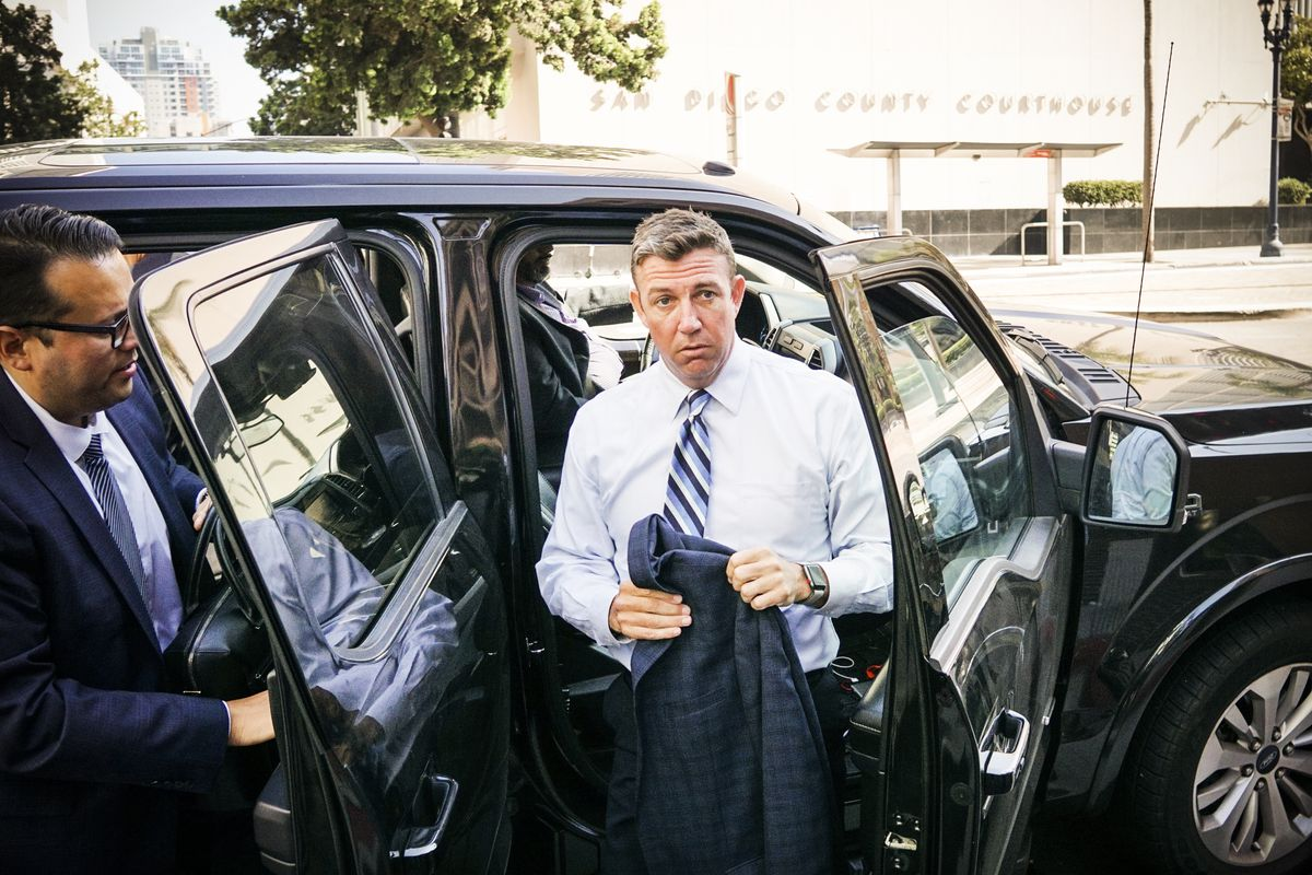 Rep. Duncan Hunter (R-CA) walks into the Federal Courthouse for an arraignment hearing on August 23, 2018 in San Diego, California.