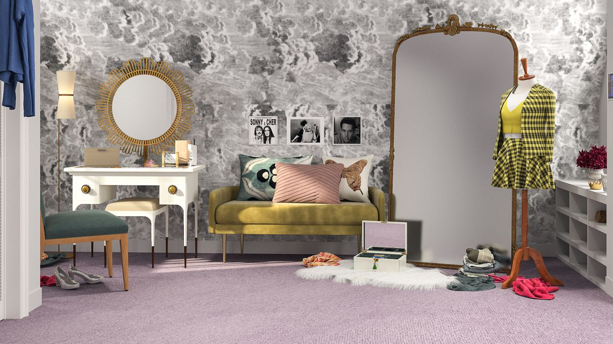 Rendering of a closet with gray patterned wallpaper and a huge mirror.